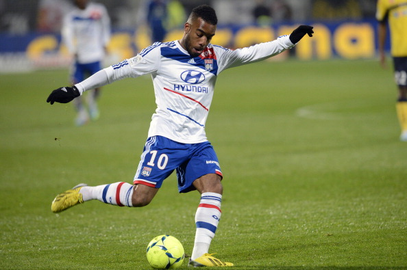 Lyon's French forward Alexandre Lacazette kicks the ball during the French L1 football match Lyon vs Sochaux on March 31, 2013 at the Gerland stadium in Lyon. AFP PHOTO PHILIPPE MERLE        (Photo credit should read PHILIPPE MERLE/AFP/Getty Images)