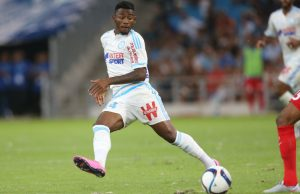MARSEILLE - AUGUST 8: Georges-Kevin N'Koudou of OM in action during the French Ligue 1 match between Olympique de Marseille (OM) and SM Caen at Stade Velodrome on August 8, 2015 in Marseille, France. (Photo by Jean Catuffe/Getty Images)