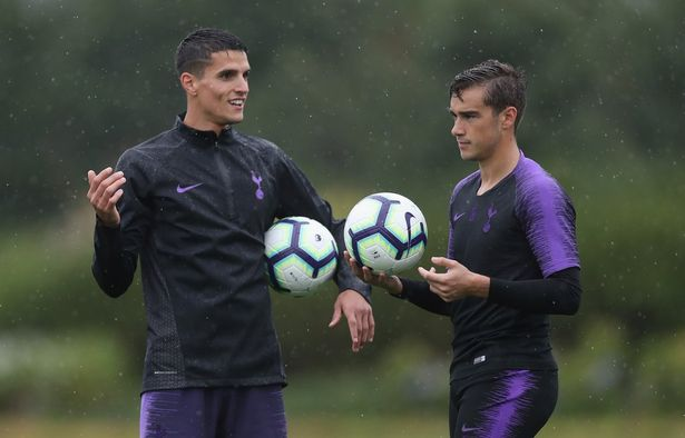 Harry Winks and Erik Lamela of Tottenham
