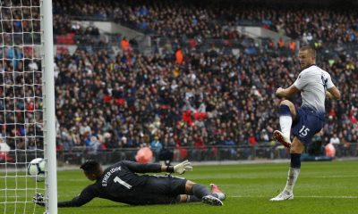 Eric Dier of Tottenham scores against Cardiff