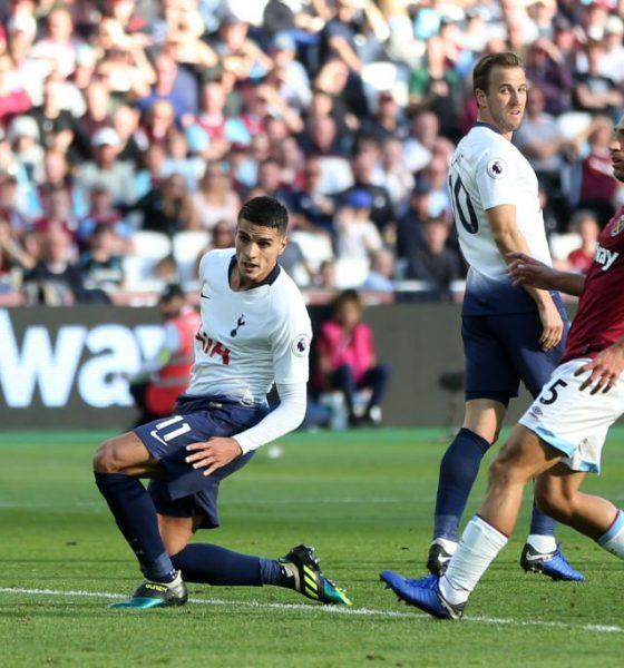 Erik Lamela of Tottenham scores