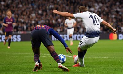 Harry Kane of Tottenham scores against Barcelona