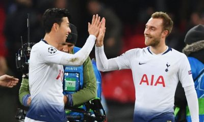 Christian Eriksen and Son Heung-min of Tottenham