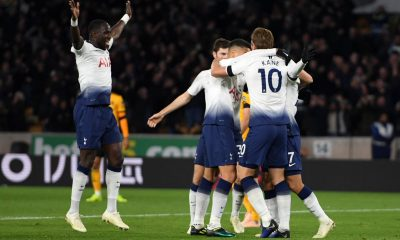 Harry Kane celebrates with his Tottenham teammates