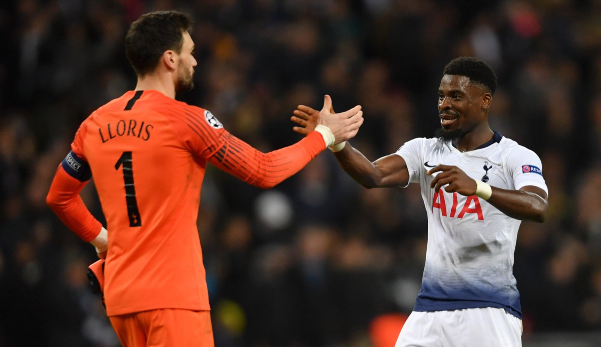 Huro Lloris and Serge Aurier of Tottenham