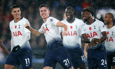 Juan Foyth celebrates with his Tottenham teammates