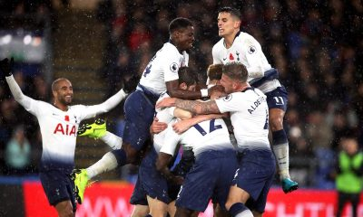 Tottenham players celebrate win over Crystal Palace