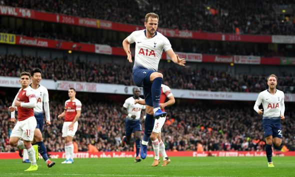 Harry Kane scores for Tottenham against Arsenal