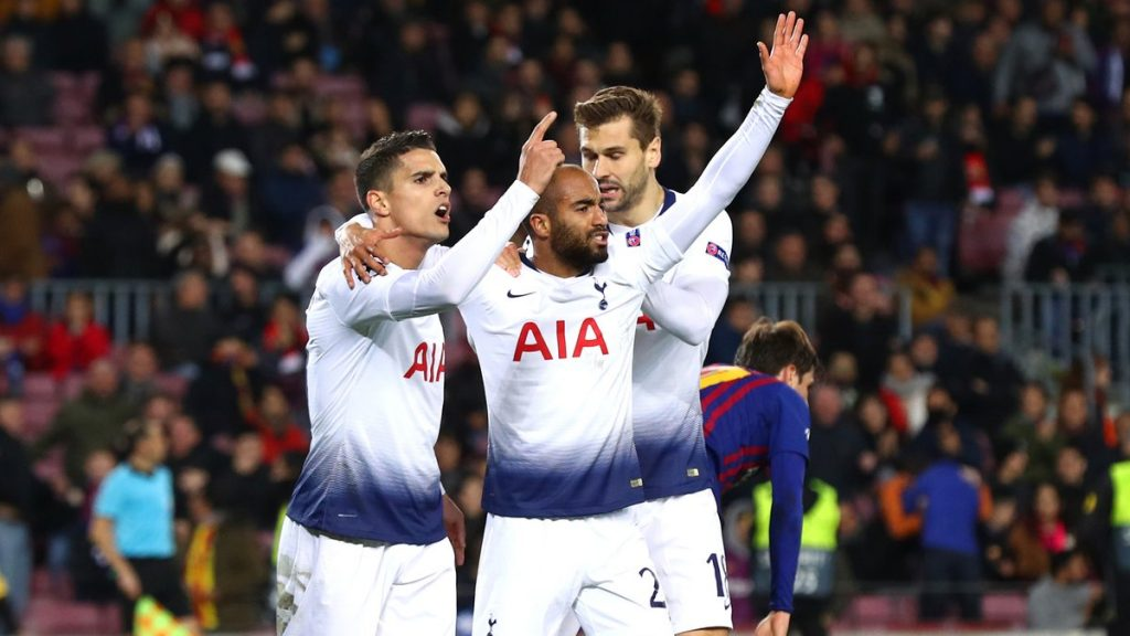 Lucas Moura celebrates for Tottenham