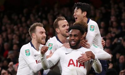 Tottenham players celebrate win