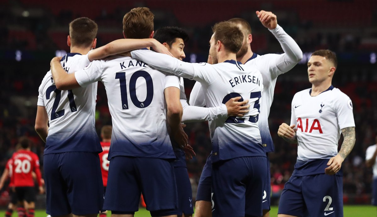 Tottenham players celebrate against Southampton
