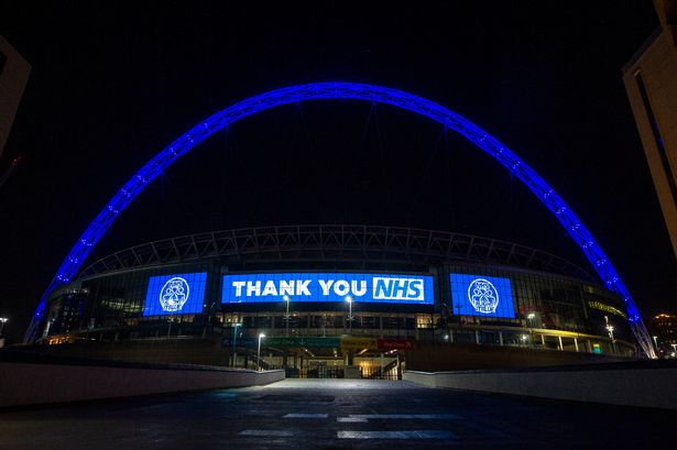 The Tottenham Hotspur Stadium was illuminated in blue to show support to the NHS