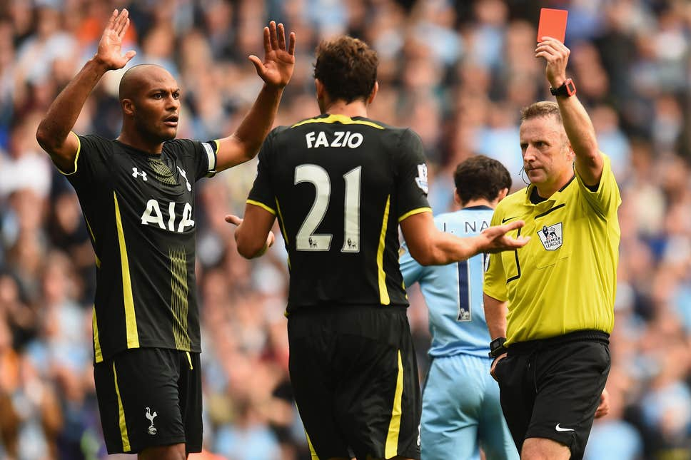 Fazio was shown a red card on his Premier League debut at Tottenham