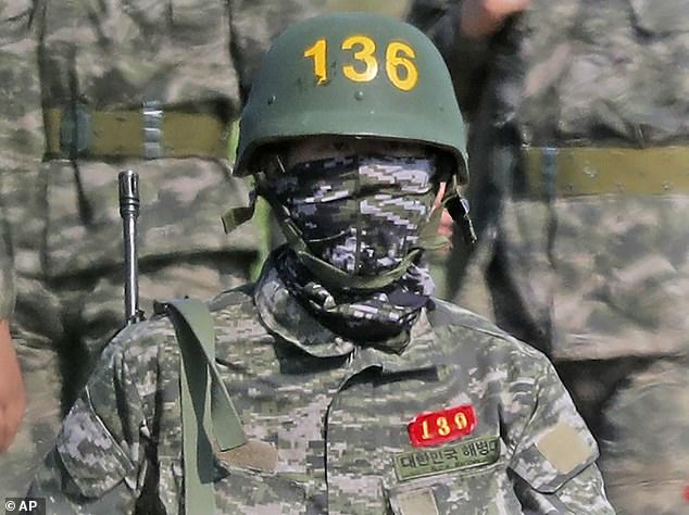 Son Heung-min picyured in military gear