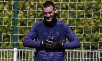 Captain Hugo Lloris all smiles in training