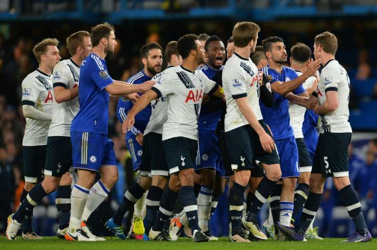 Chelsea and Tottwnham hotspur players fight during thePremier League clash at Stamford Bridge in 2016