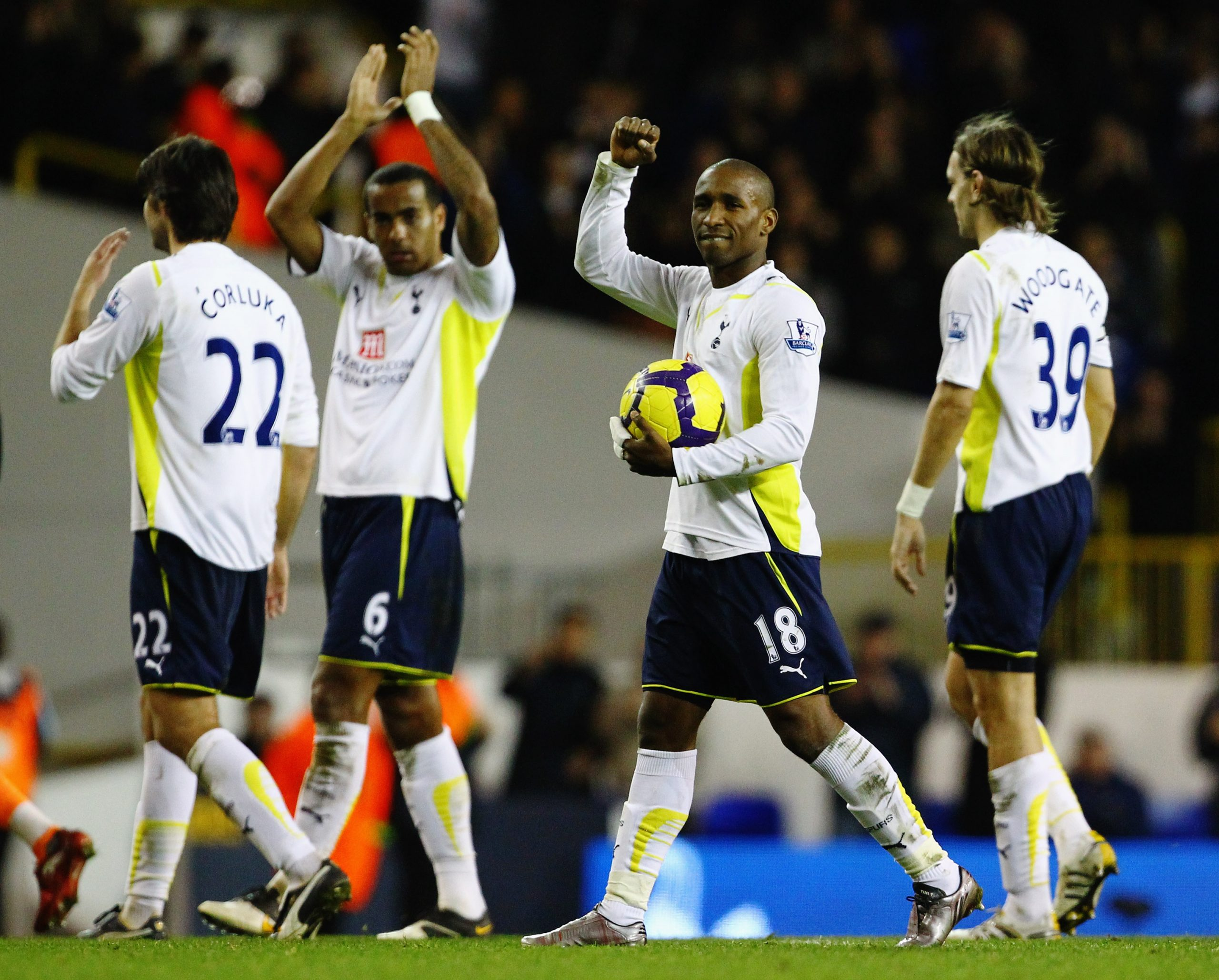 Defoe carries the match ball after scoring 5 past Chris Kirkland. (GETTY Images)