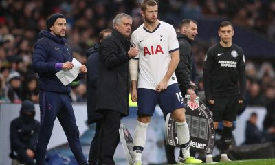 LONDON, ENGLAND - DECEMBER 26: Tottenham Hotspur Manager Jose Mourinho talks with Eric Dier during the Premier League match between Tottenham Hotspur and Brighton & Hove Albion at Tottenham Hotspur Stadium on December 26, 2019 in London, United Kingdom. (Photo by Catherine Ivill/Getty Images)