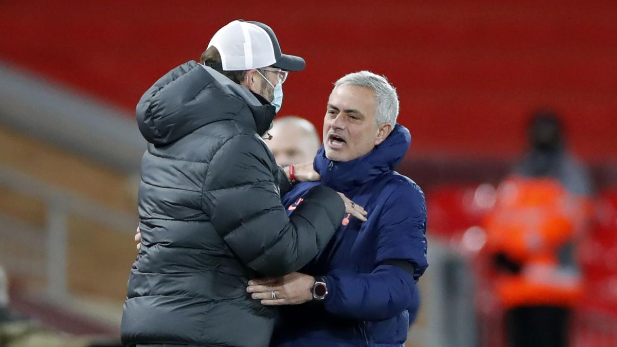 Jose Mourinho on the touchline with Liverpool manager Jurgen Klopp at the full-time whistle. (GETTY Images)