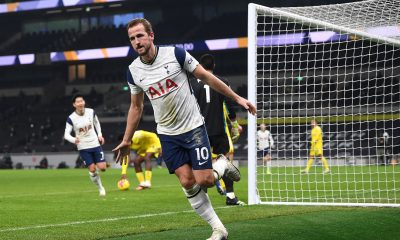 Harry Kane celebrates after scoring for Tottenham Hotspur against Fulham. (GETTY Images)