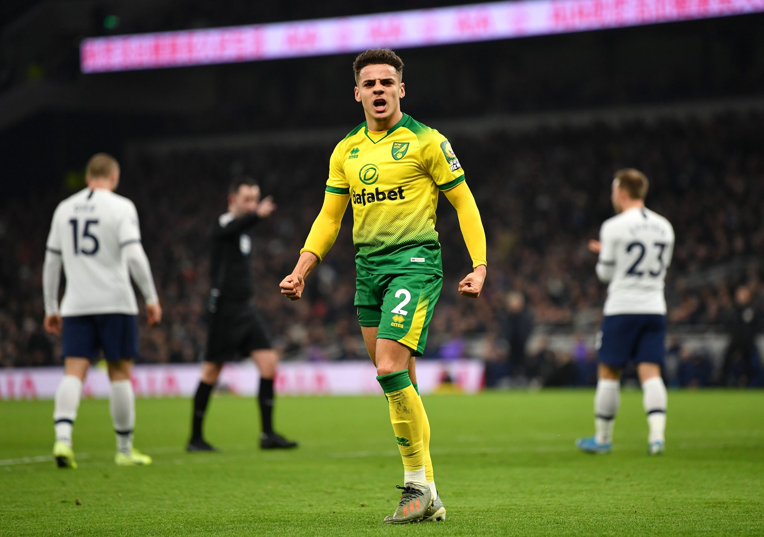 Max Aarons in action for Norwich City against Tottenham Hotspur. (GETTY Images)