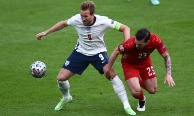 Harry Kane and Pierre-Emile Hojbjerg in action at UEFA Euros 2020.