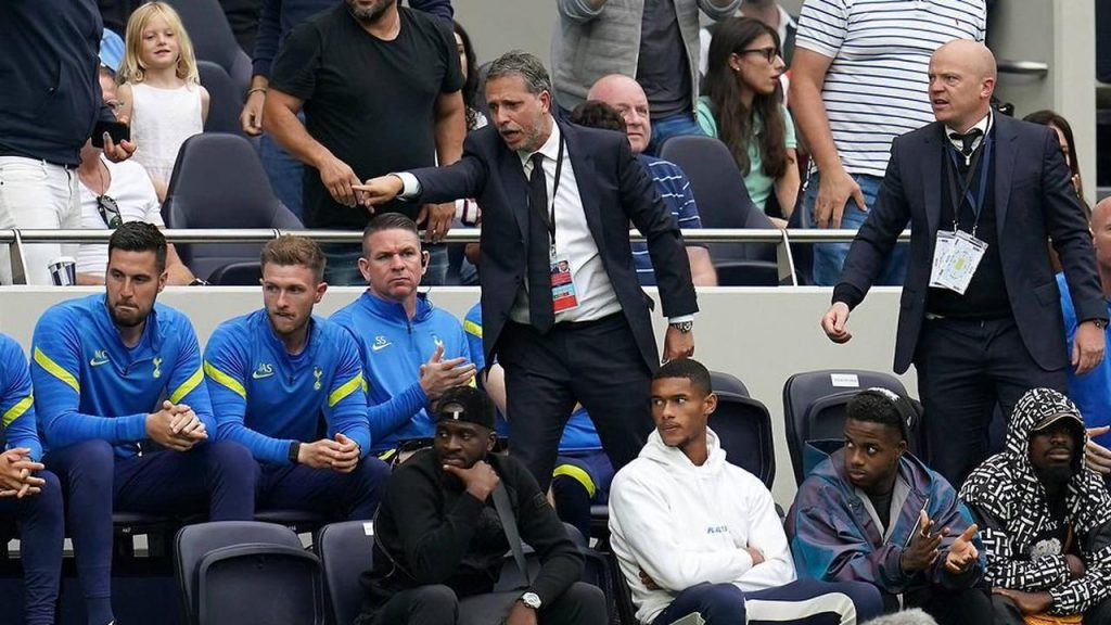 Paratici and Hitchen are often seen on the bench with the Tottenham Hotspur players.