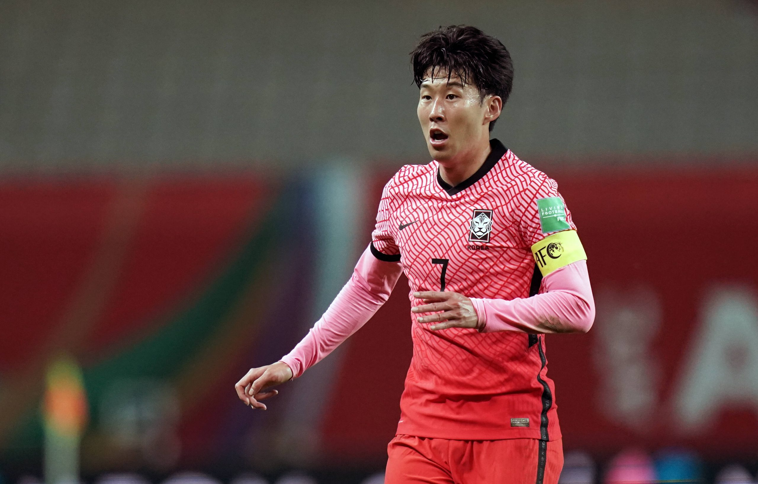 Heung-min Son of Tottenham Hotspur in action for South Korea.