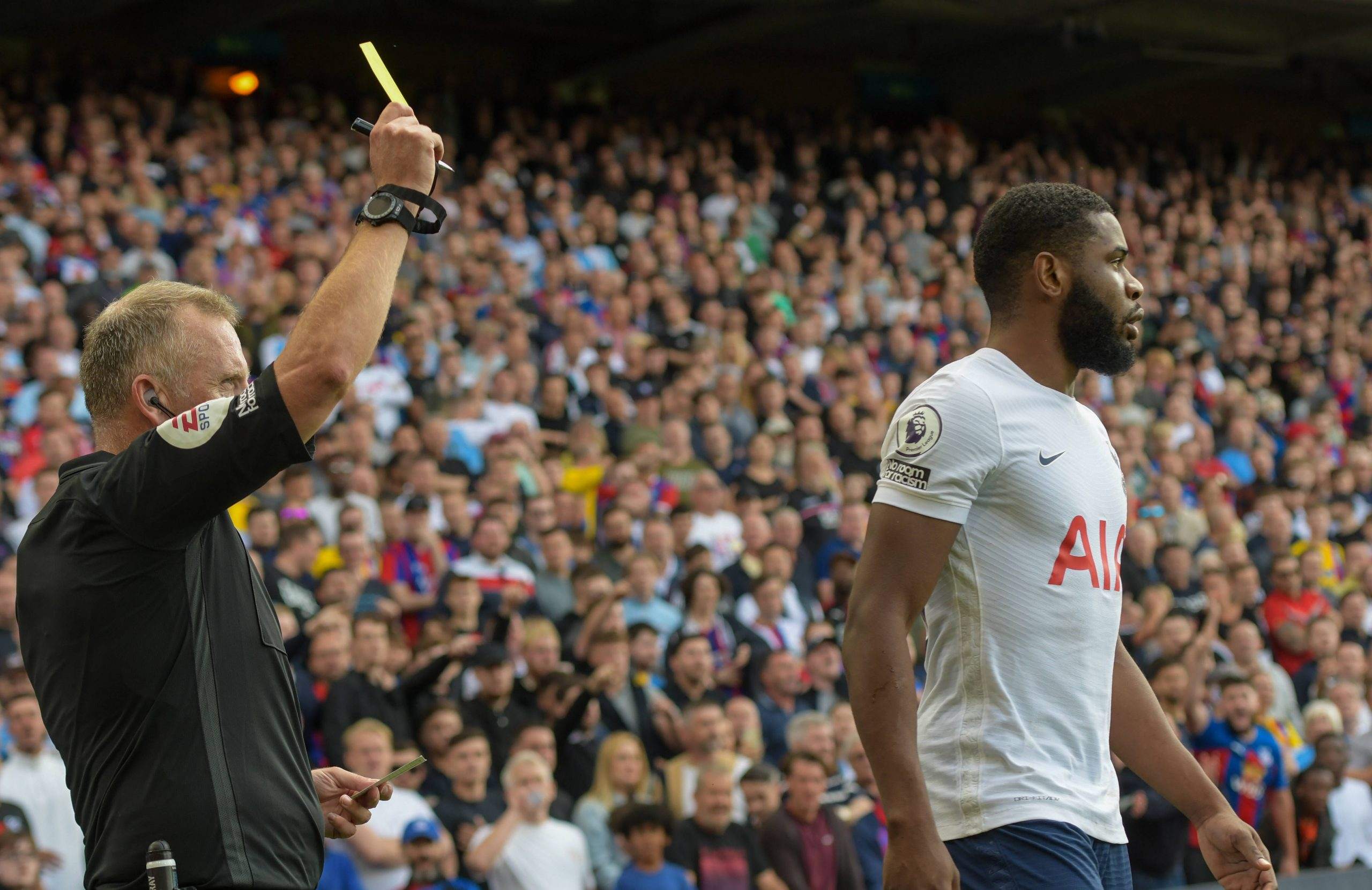 Japhet Tanganga was shown a red card for Spurs against Palace.